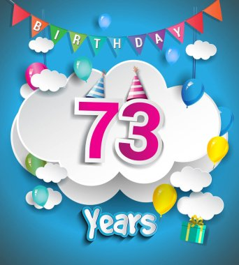 73 Years Birthday Design for greeting cards and poster, with  gift boxes, balloons. design template for anniversary celebration