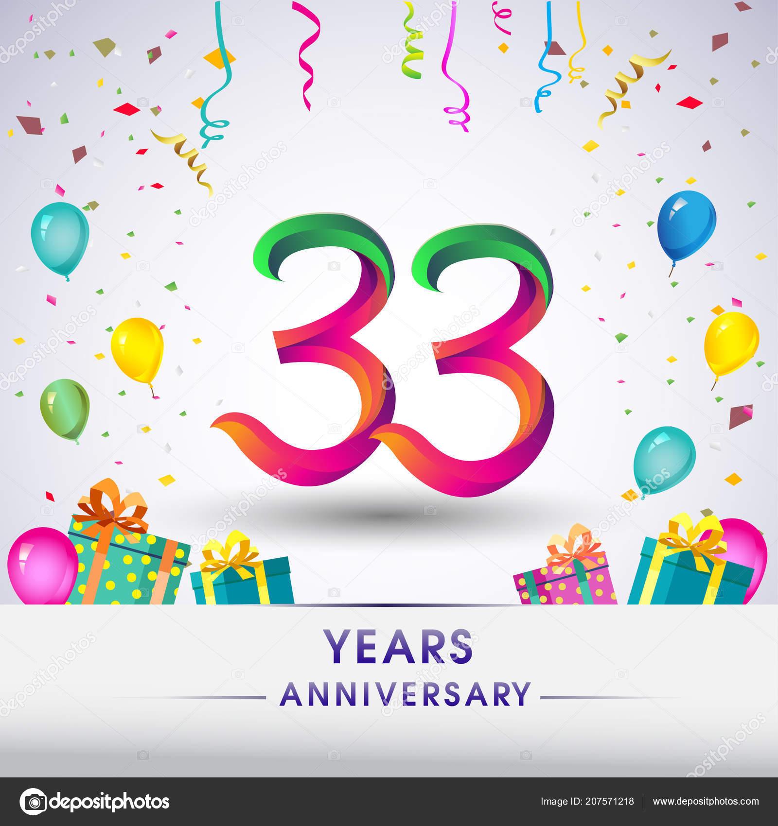 Anniversary Celebration Design Gift Box Balloons Confetti Colorful
