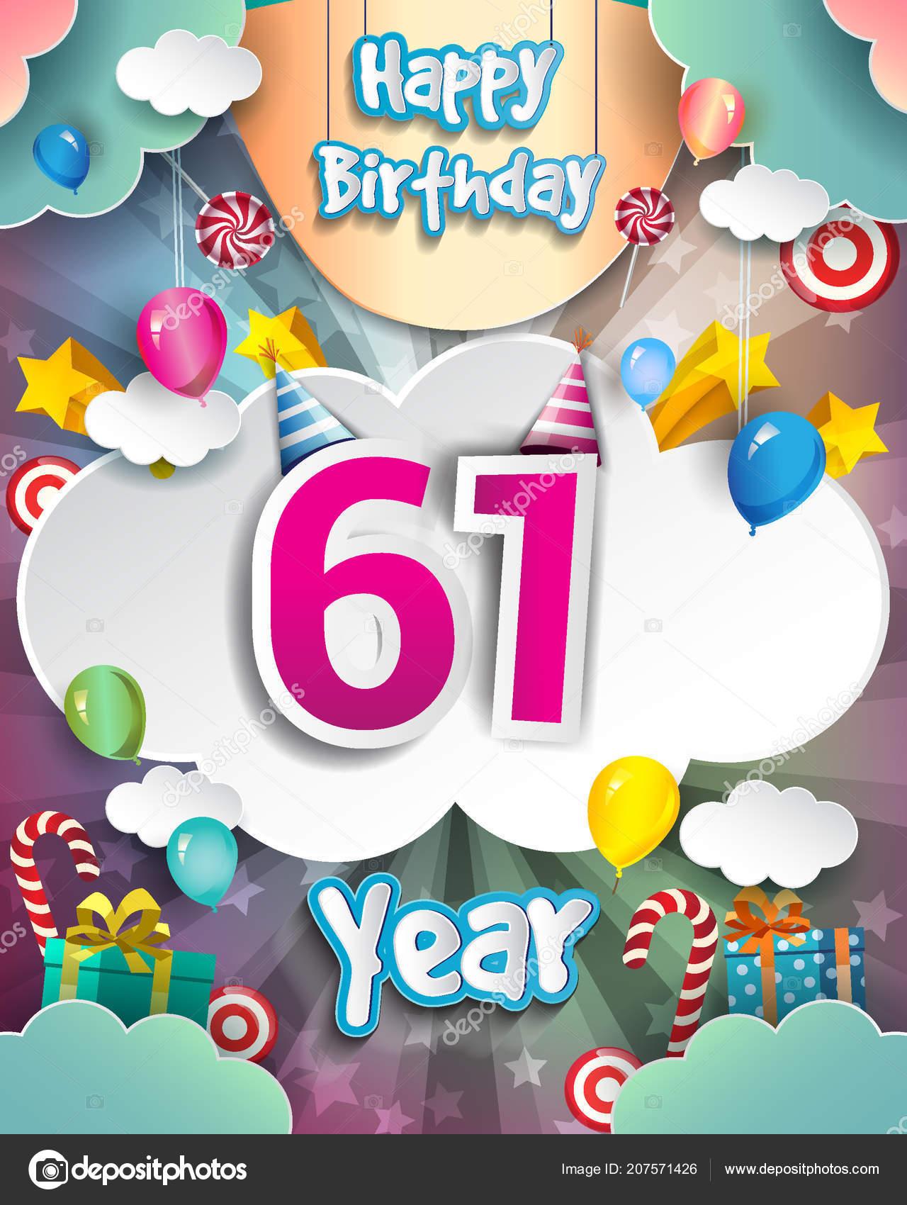 Anni Compleanno Design Biglietti Auguri Poster Con Cloud