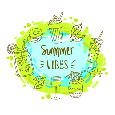 Summer background, logo, hand drawn and design elements for summer holiday, Vector illustration for poster and invitation.