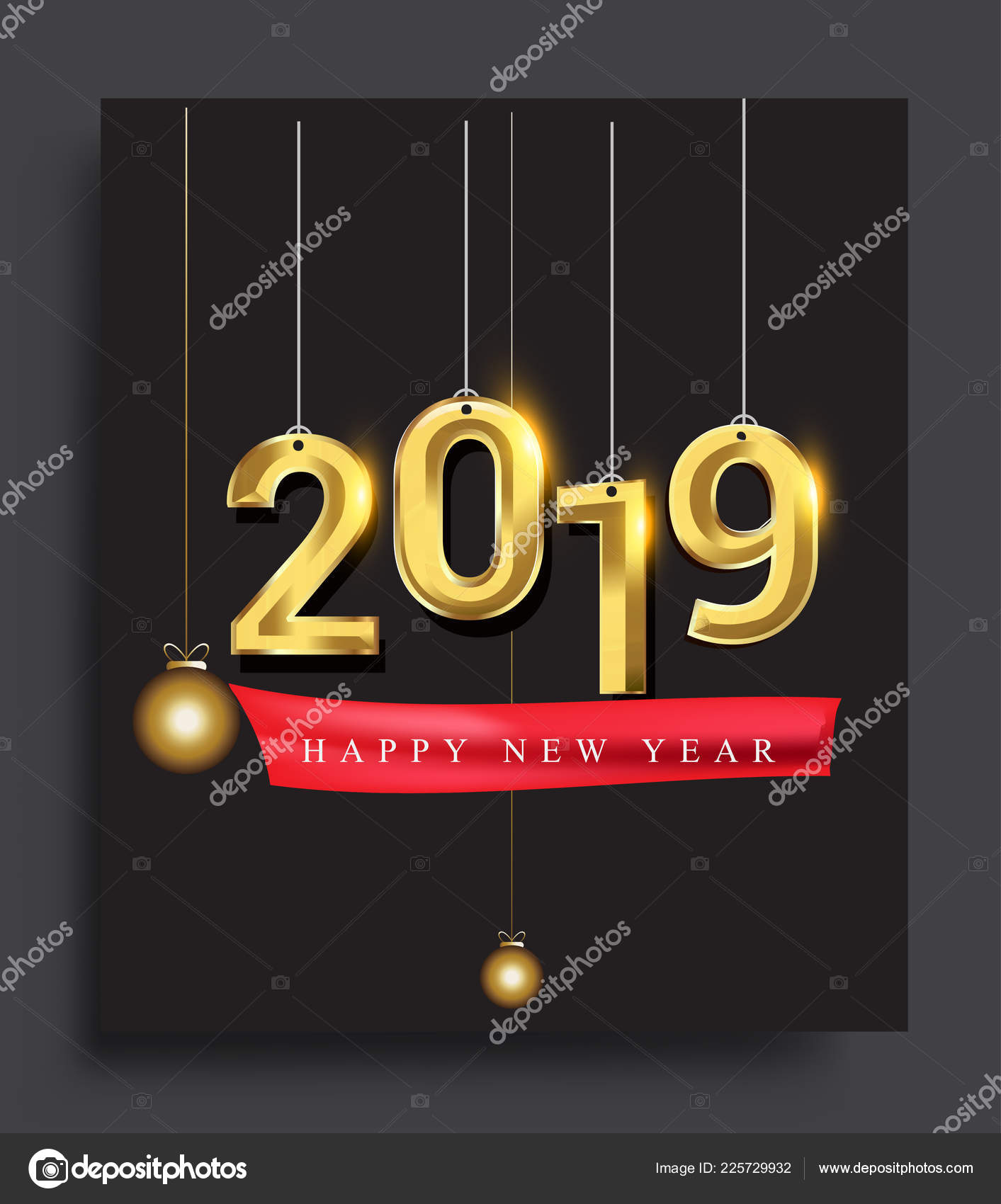 new year card template 2019 text colorful vector illustration winter stock vector