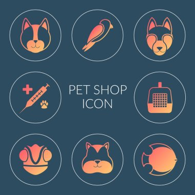 Vector set of icons. Subjects online pet store. Illustrations of silhouettes of a cat, dog, hamster, chameleon, fish, accessories, veterinary medicine in bright orange circles. icon