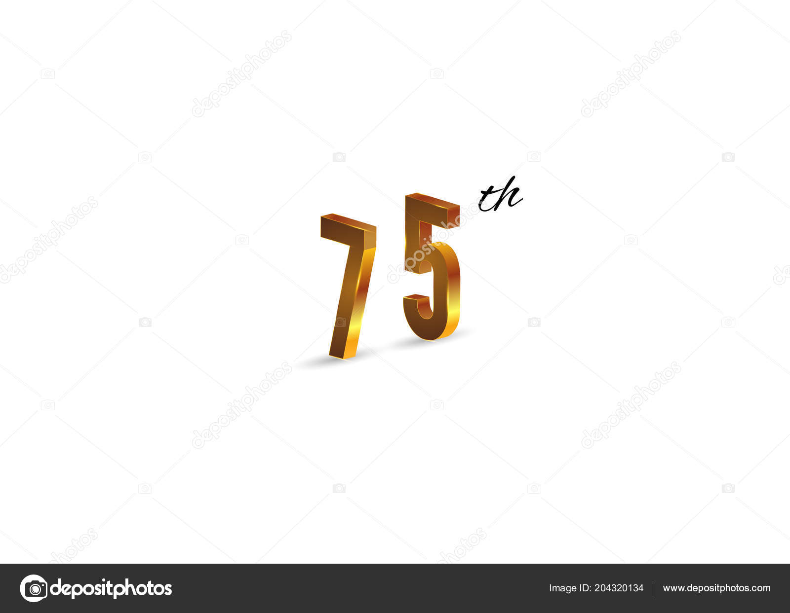 75th Anniversary Golden Symbol White Background Vector Illustration