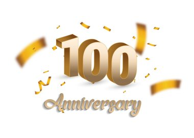 100 anniversary golden sign and confetti on white background, vector illustration