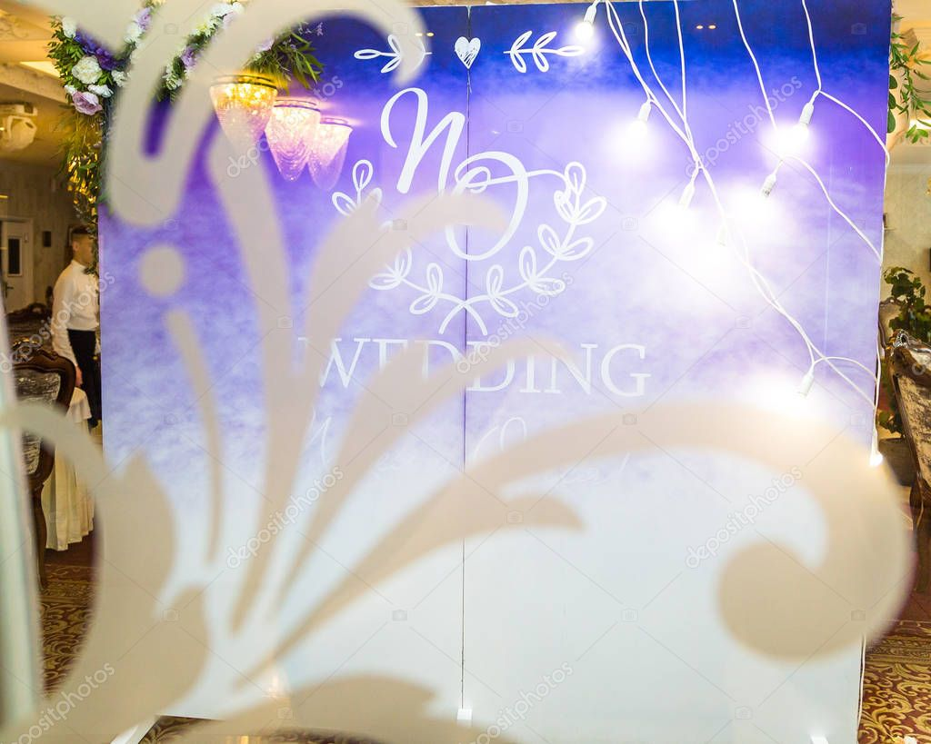 purple wedding decor, registration details restaurant
