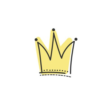 Illustration of the yellow crown in Doodle style. Hand drawn Vector sketch. EPS 10