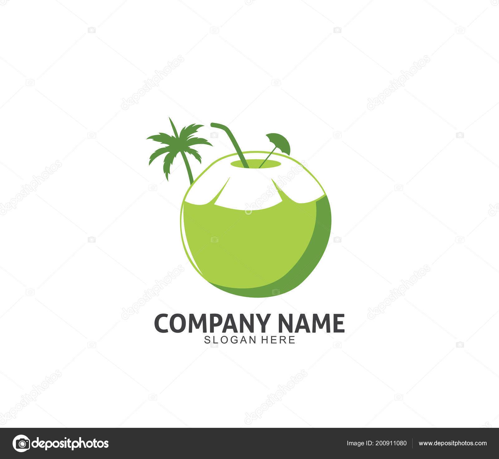 coconut drink beverage vector icon logo design template stock