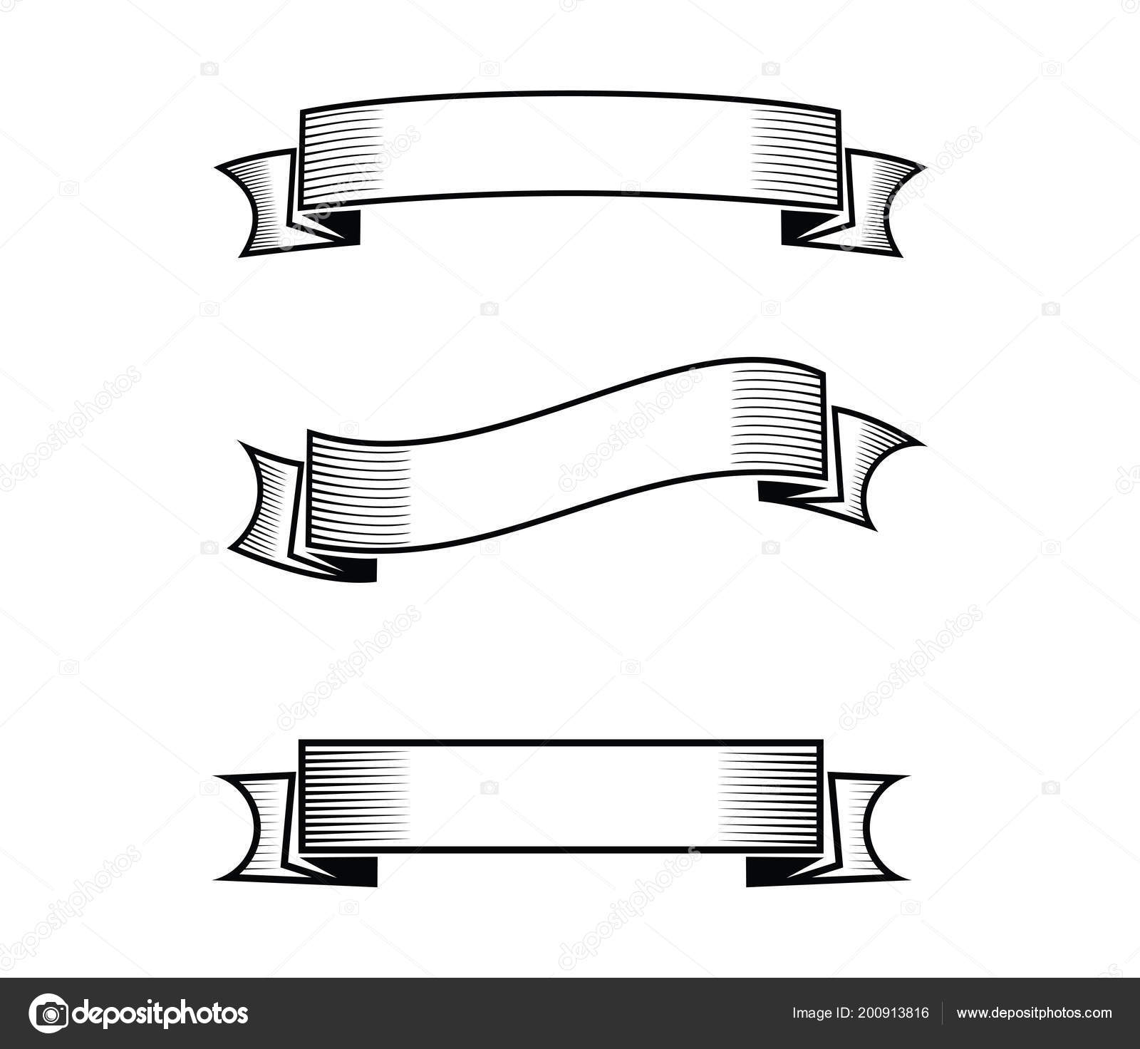 blank ribbon banner set vector design template stock vector