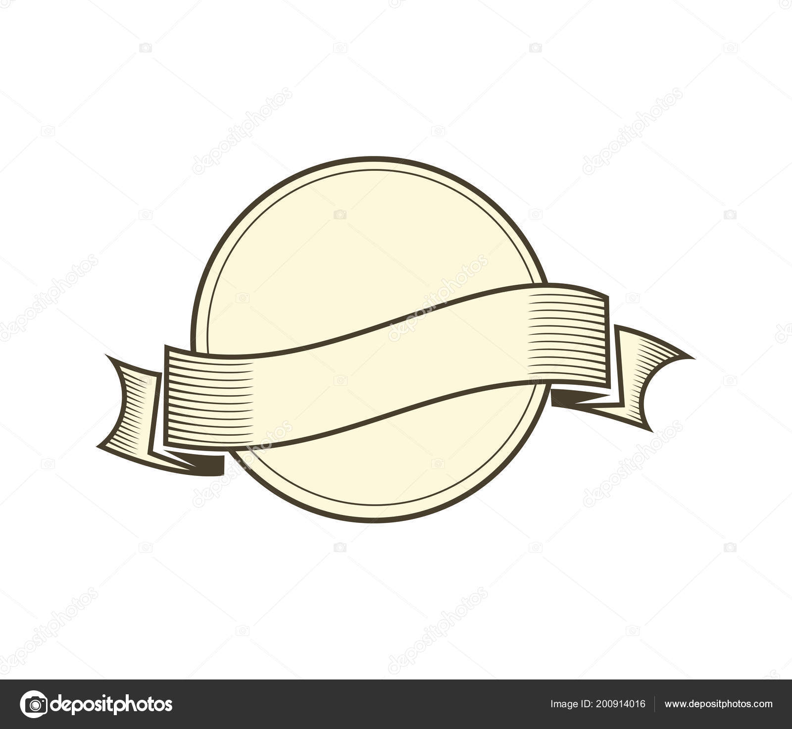 single blank ribbon banner vector design template stock vector