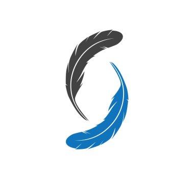 feather shape theme concept vector logo design template
