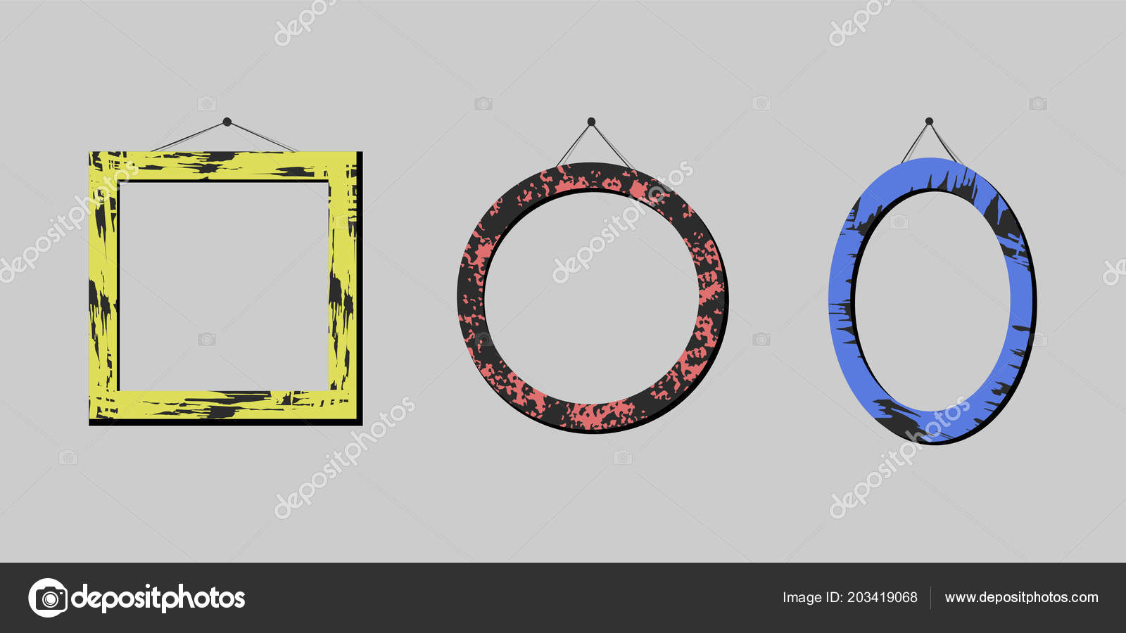Set Artistic Frames Vector Illustration Eps — Stock Vector ...