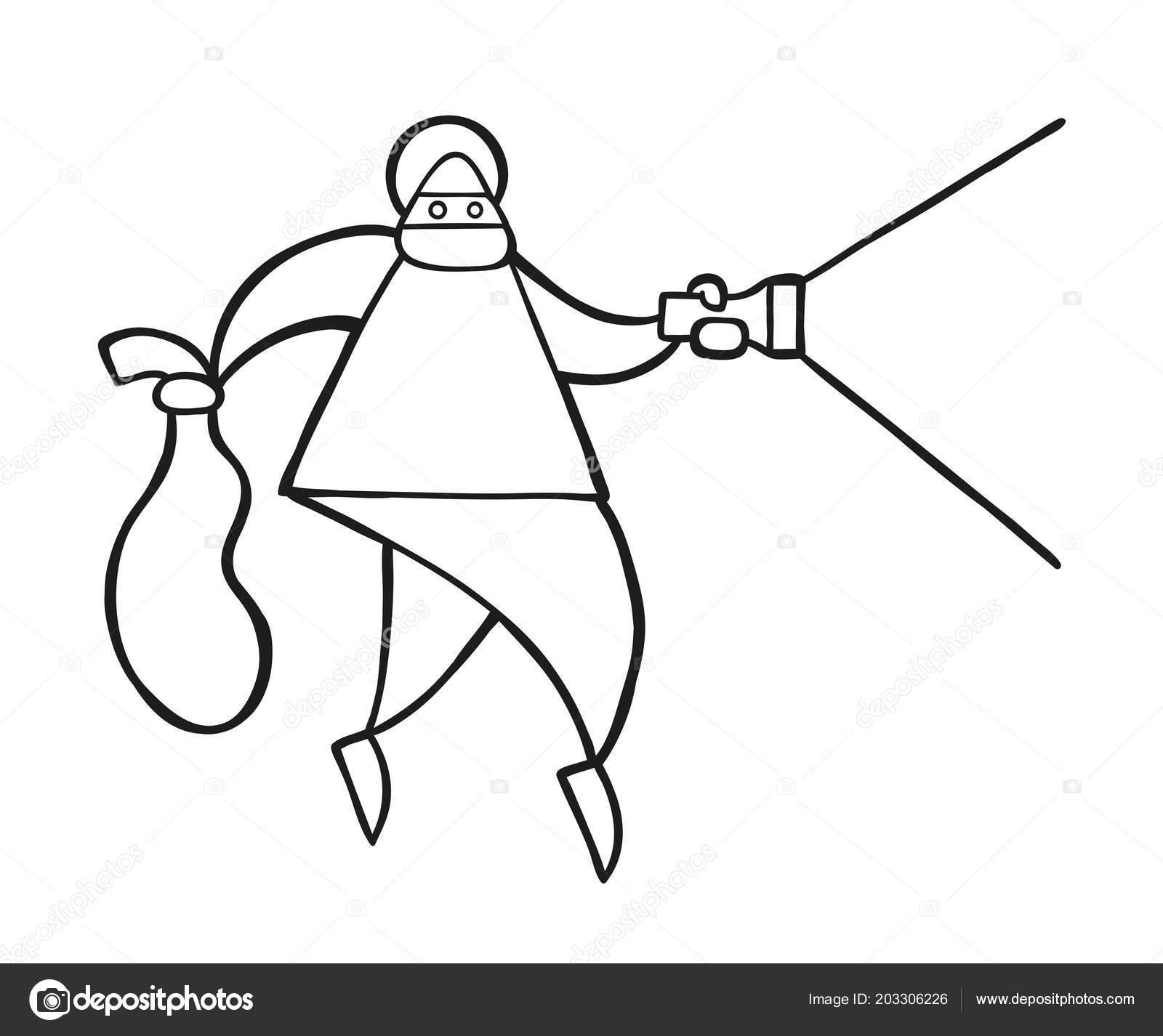 Vektorove Ilustrace Kreslene Zlodej Muz Tvari Maskovany Chuze Drzeni