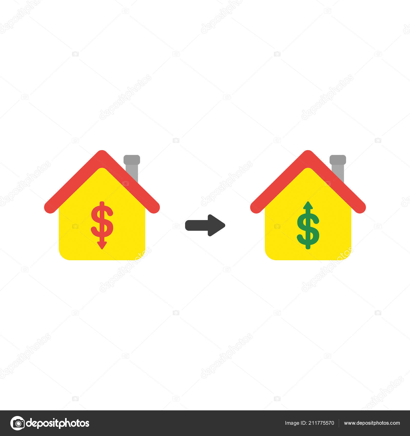 Vector Illustration Icon Concept House Dollar Money Symbols Arrows