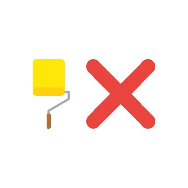Vector illustration icon concept of yellow paint roller brush with x mark.