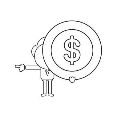 Vector illustration concept of businessman character holding dollar coin and pointing. Black outline.
