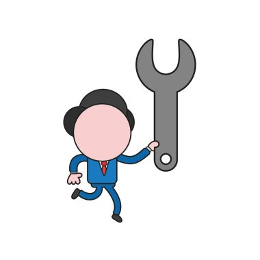Vector illustration concept of businessman character running and carrying spanner. Color and black outlines.