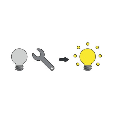 Vector icon concept of light bulb with spanner and light bulb gl