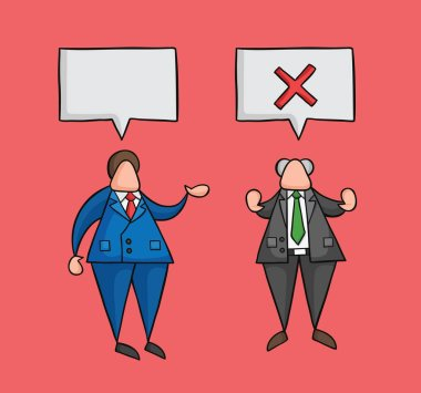 Hand-drawn vector businessman worker speaks with boss and boss r