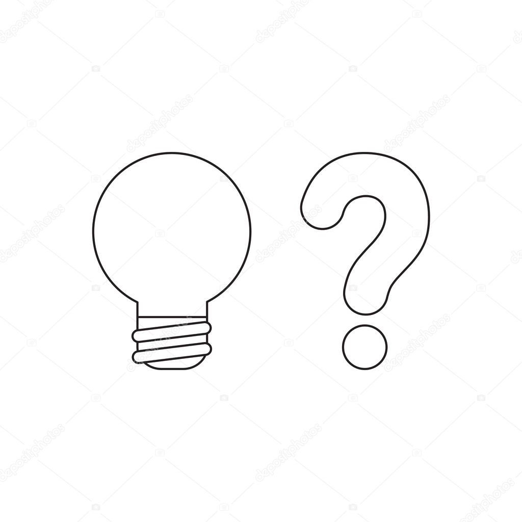 Vector icon concept of light bulb with question mark.