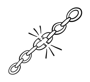 Vector hand-drawn illustration of chains are broken.