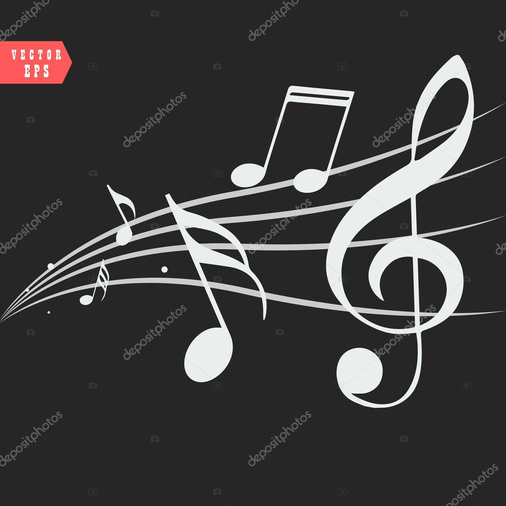 Ornamental music notes with swirls on black background