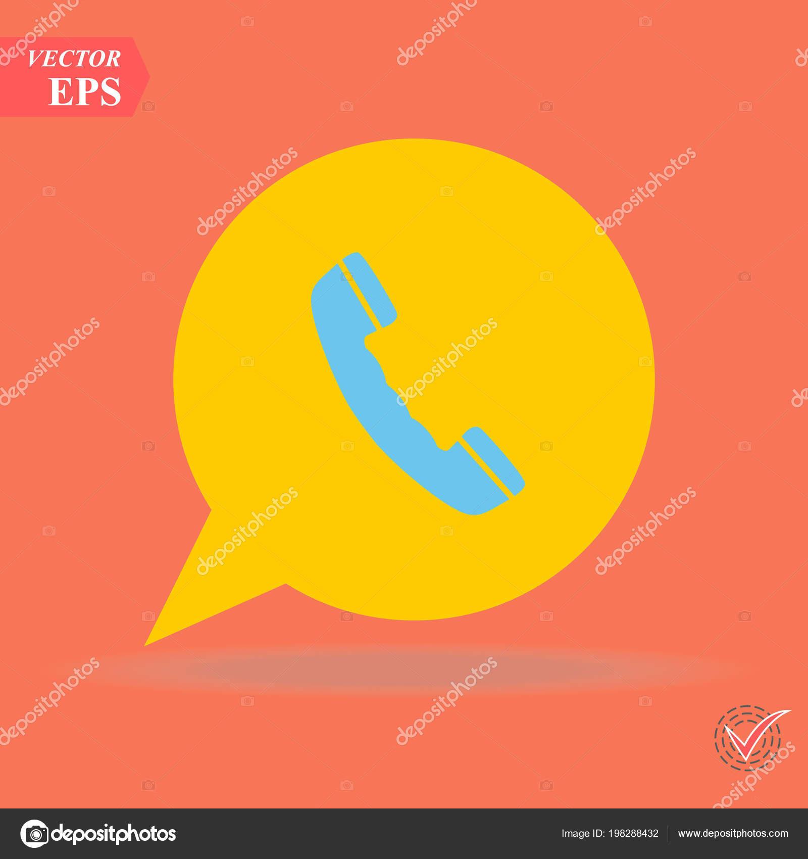 Phone Icon Trendy Flat Style Isolated Orange Background Handset Icon