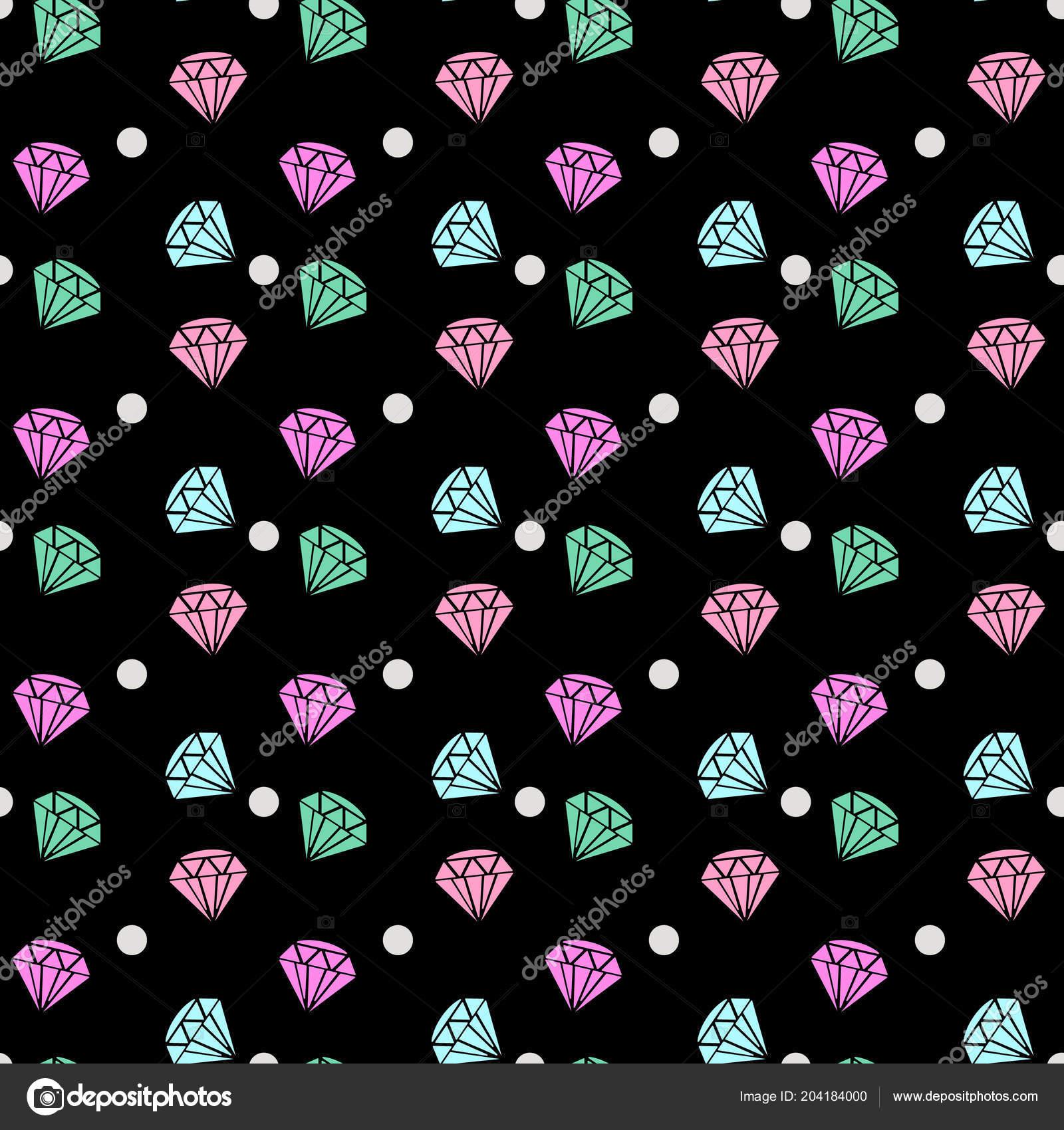 Diamond Gem Icon Jewelry Vector Seamless Pattern Wallpaper