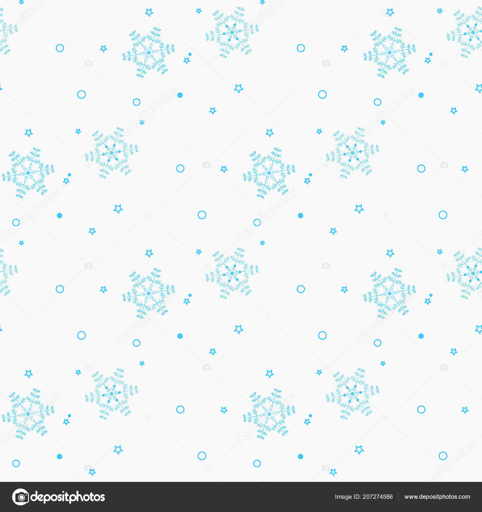 Snowflake simple seamless pattern. Blue snow on white