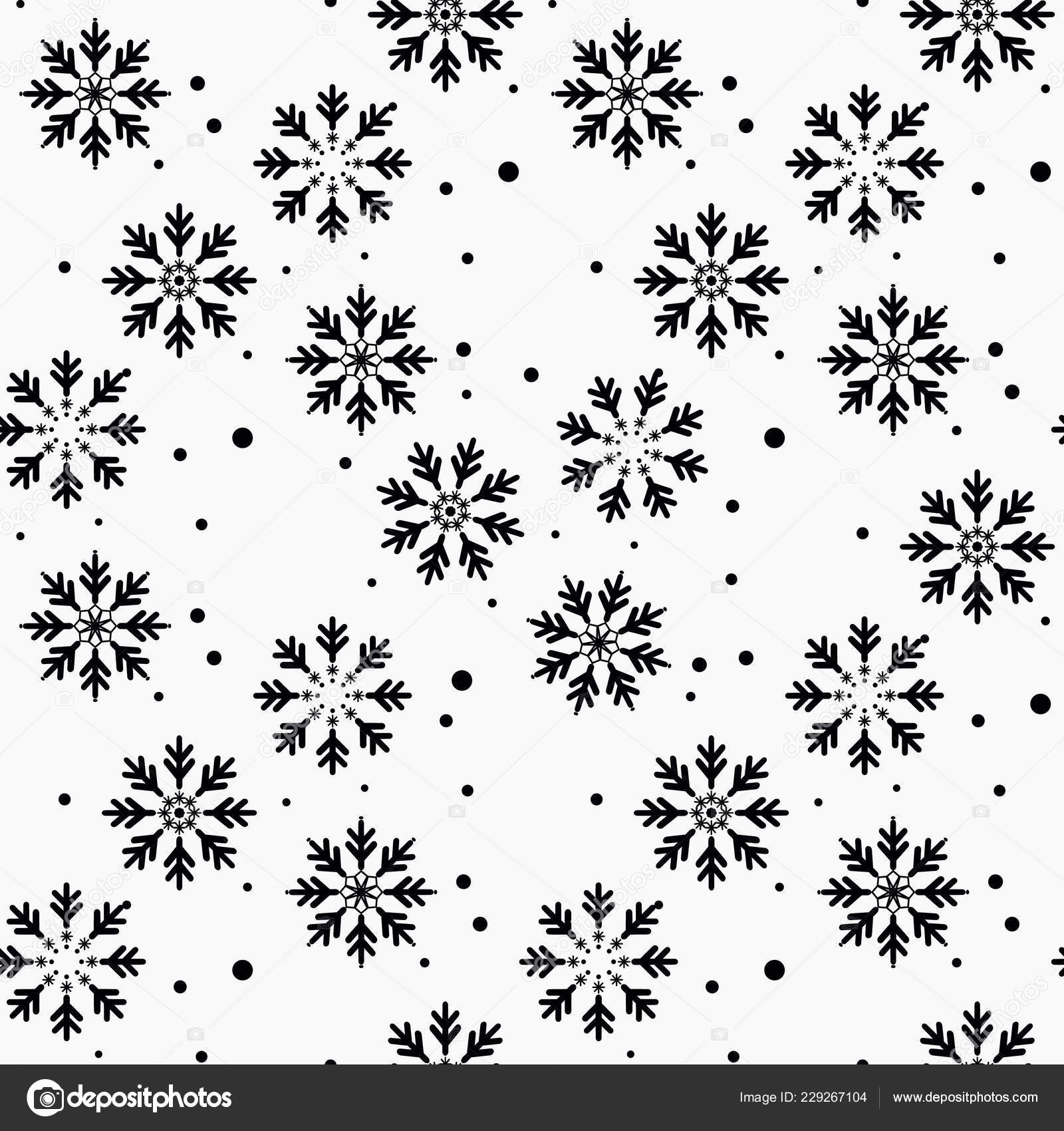 Winter Seamless Pattern With Black Snowflakes And Dots On White