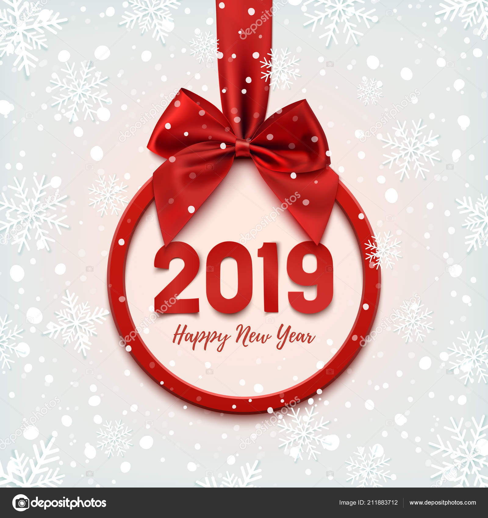 happy new year 2019 round banner with red ribbon stock vector