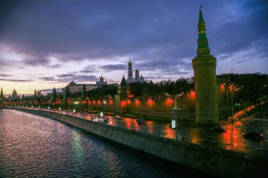 View on Kremlinand river Night Moscow Russia