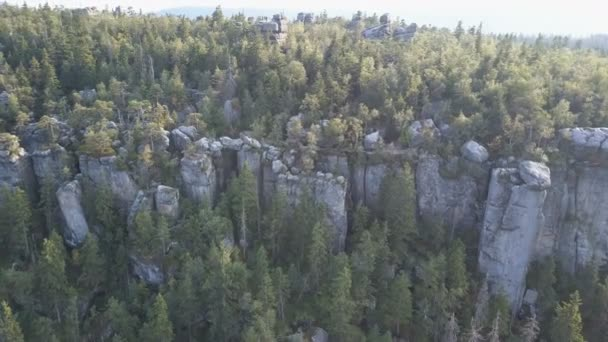 Amazing rock formation on Szczeliniec Wielki in Table Mountains National Park. Tourist attraction of Polish Sudetes