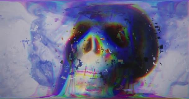 Többszínű koponya absztrakt digitális hatásokkal a fény interferencia és a hullámok, törött TV. Pixel hiba művészeti hatás. Retro futurizmus 80 90 dinamikus stílus. Videojel károsodás régi képernyő zaj
