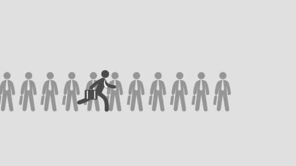 2D Animated businessman in suit with briefcase runs through other people to front of line becomes first. Tries get ahead of career ladder. Professional male leader waves his hand at pinnacle of