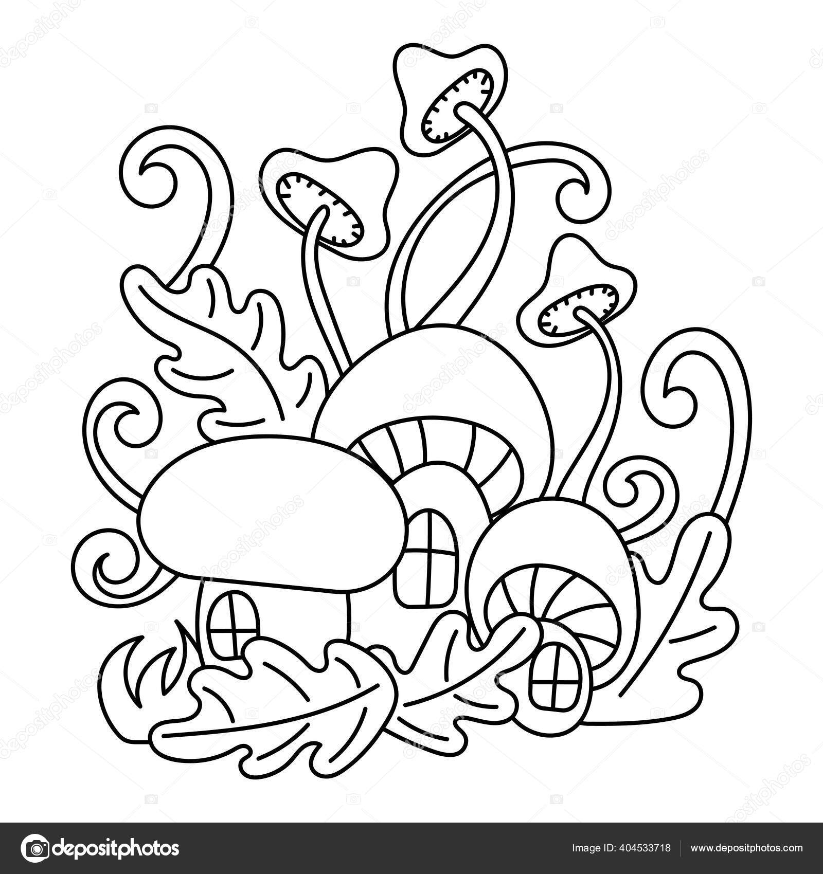 Jamur Rumah Hutan Ajaib Tanaman Dan Daun Doodle Ilustrasi Buku Stok Vektor C Axenova N Yandex Ru 404533718