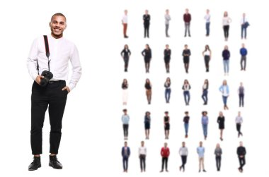 Photograph with different multi-ethnic people on background
