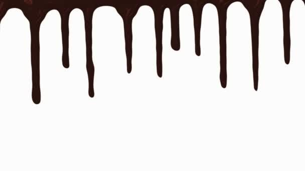 Čokoládové potoky na bílém pozadí