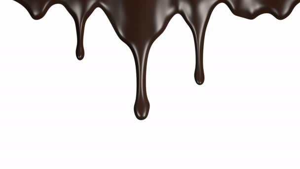 Čokoláda proudy animace na bílém pozadí