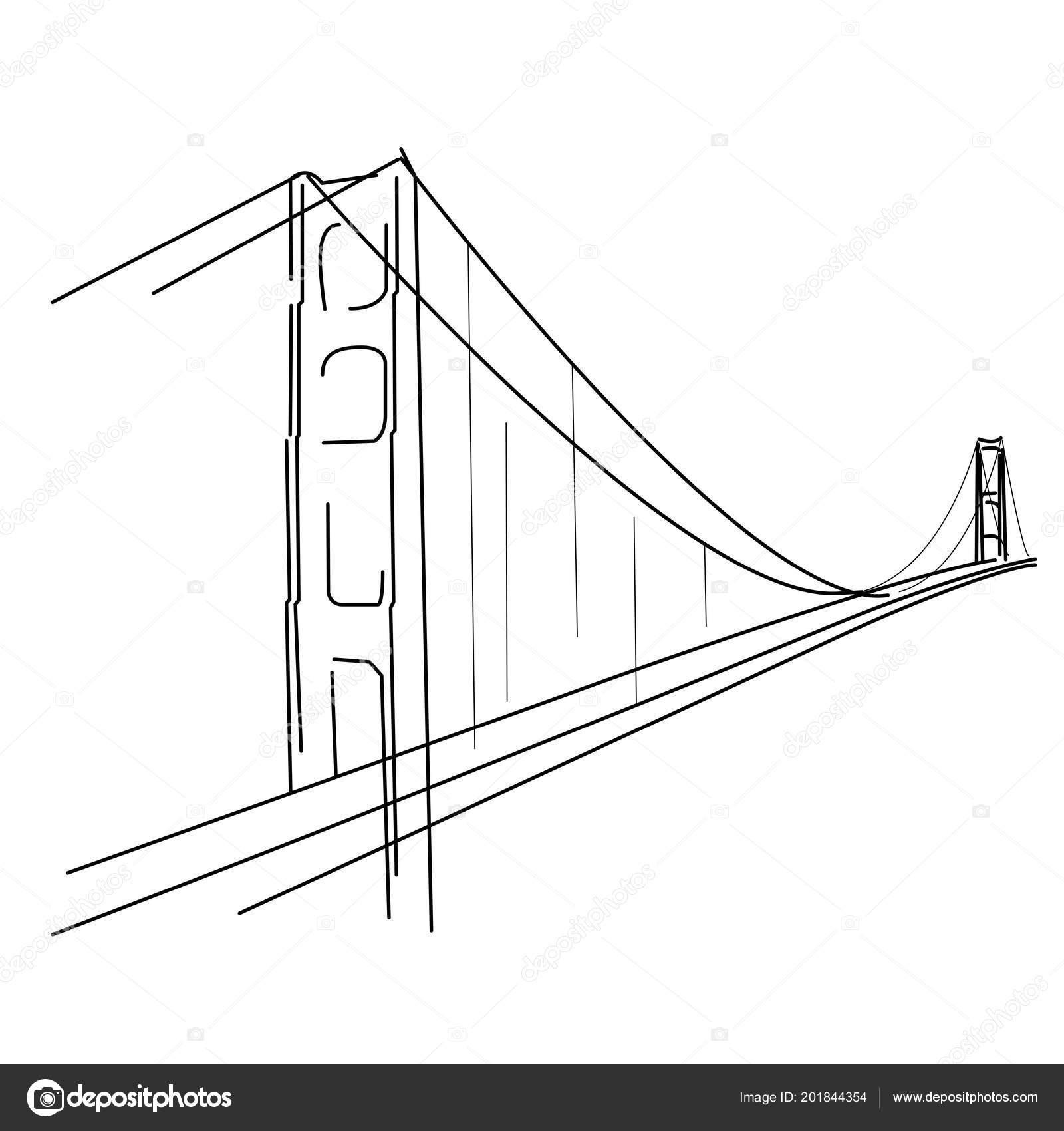 Dessin Du Pont De San Francisco croquis symbolique golden gate san francisco silhouette pont — image