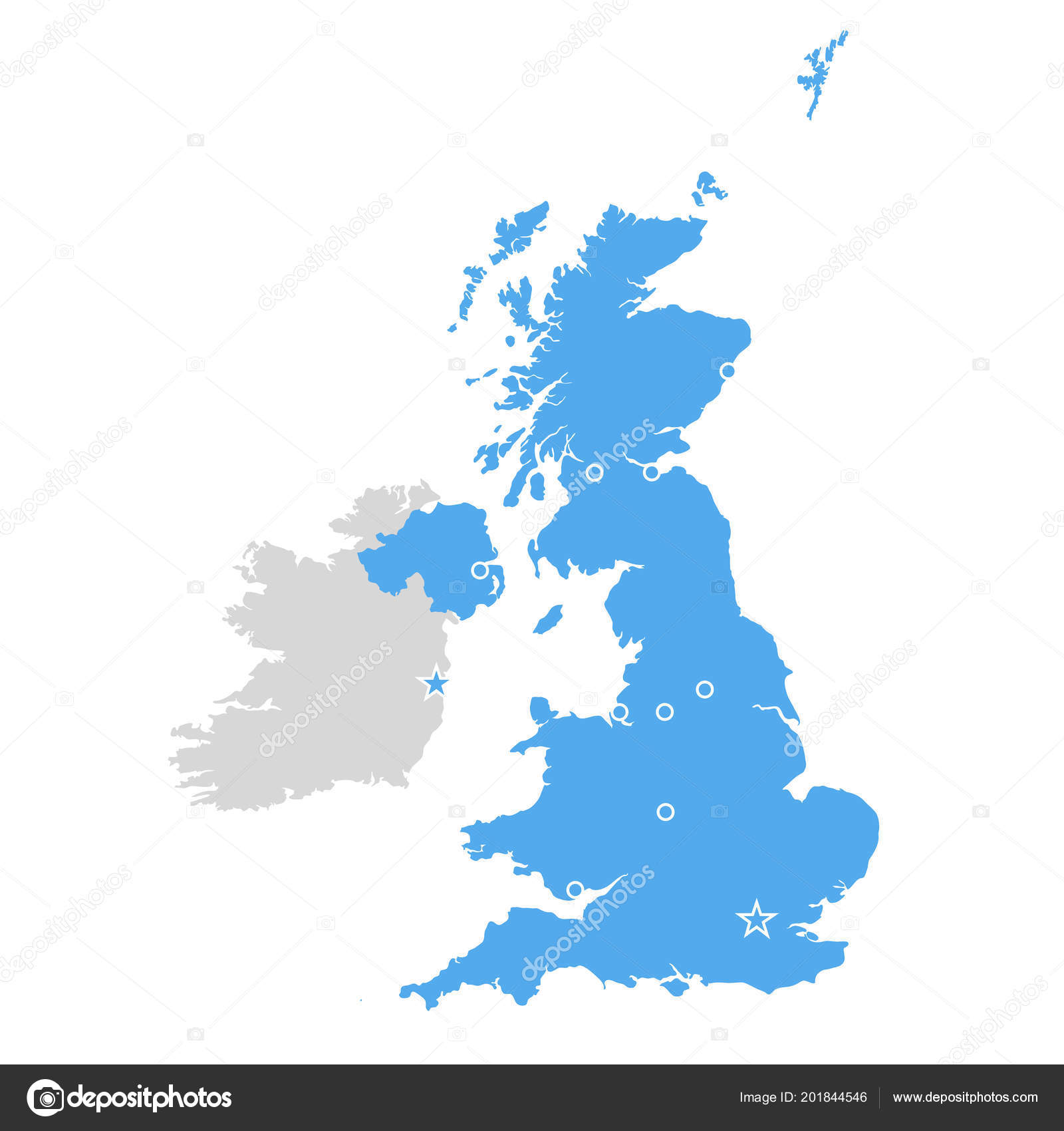 Map Of Uk Scotland And Ireland.Great Britain Map United Kingdom Scotland Ireland Contour Stock