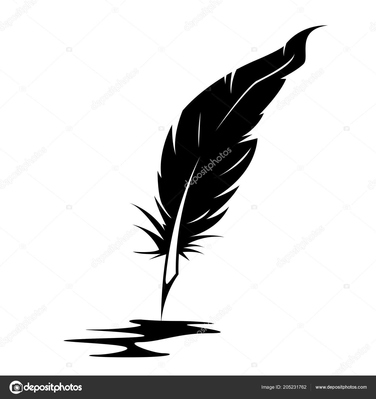 Silhouette Plume Encre Blot Concept Poésie écrivain Image