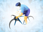 Cycling tour, track, bicycle, geometric, cyclist stylized vector. A Young man is cycling a bicycle. Sports activity.