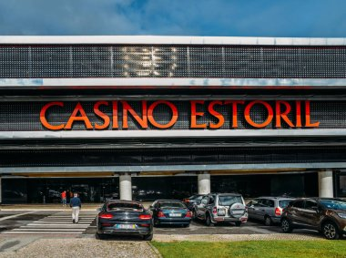 Facade of the Casino Estoril in Estoril city, just outside of Lisbon. One of the largest casinos in Europe