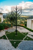 Iron Menorah overlooking the surrounding hills at Beit Eliyahu synagogue, Belmonte, Castelo Branco, Portugal