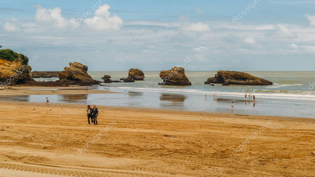 Families relax at the Grande Plage beach in Biarritz, Aquitaine France, a popular resort town on the Bay of Biscay