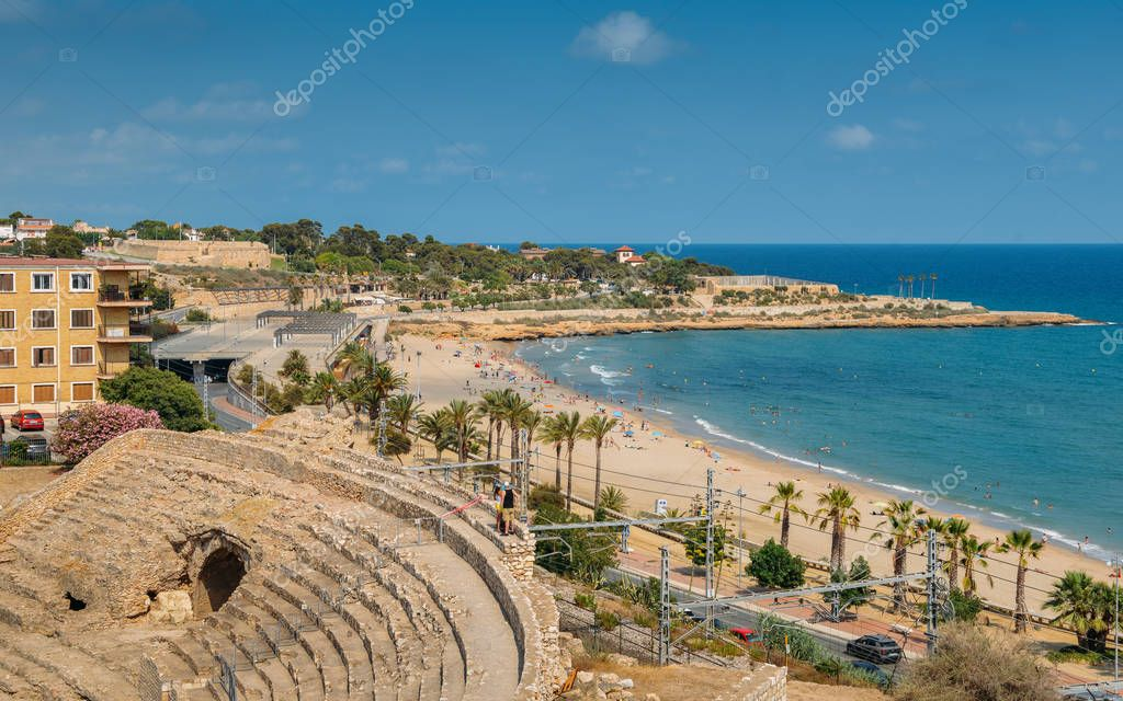 Panoramic view of the ancient roman amphitheater of Tarragona, Spain, next to the Mediterranean sea - UNESCO World Heritage Site