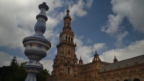 Timelapse na Plaza de Espana v Seville, Andalusie, Španělsko