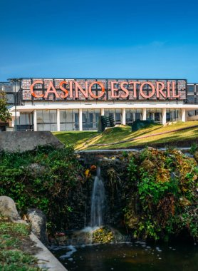 Facade of the Casino Estoril in Estoril city, just outside of Lisbon. One of the largest casinos in Europe and inspiration for Ian Flemings Casino Royale