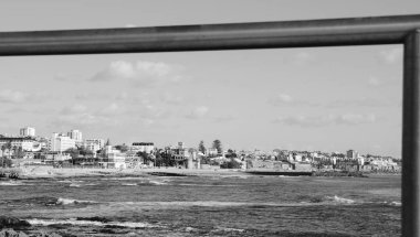 Monochrome frame of quaint town of Estoril on the Portuguese coast of the Atlantic Ocean