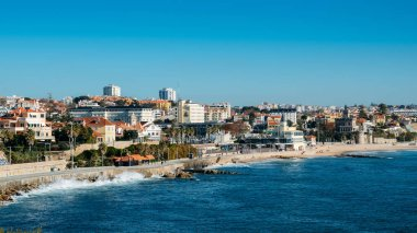 High perspective view of Estoril coastline near Lisbon in Portugal